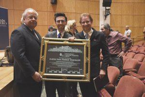 ASF President David Dangoor, ASF Executive Director Jason Guberman-P., and Ambassador Andres Roemer with his International Sephardic Leadership Award (Photo courtesy of Chrystie Sherman)